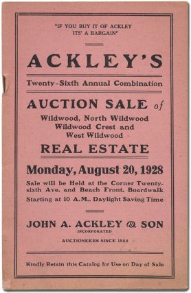 Ackley's Twenty-Sixth Annual Combination Auction Sale of Wildwood, North Wildwood, Wildwood Crest...