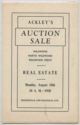 Catalogue Ackley's 28th Annual Combination Auction Sale. Wildwood, North Wildwood, Wildwood Crest...