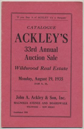 Catalogue Ackley's 33rd Annual Auction Sale Wildwood Real Estate