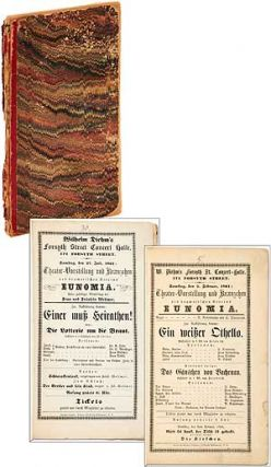 Bound Volume of Handbills for Musical Performances at two German theaters: W. Diehm's Forsyth Street Conzert-halle and Steuben Haus in New York City
