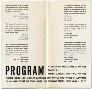 [Program]: Maro Ajemian and William Masselos in A Concert of Music for Prepared Pianos at Carnegie Chamber Hall December Tenth and Eleventh at 8:45 by John Cage (A Book of Music for 2 Pianos / Sonatas / Three Dances for Two Pianos)