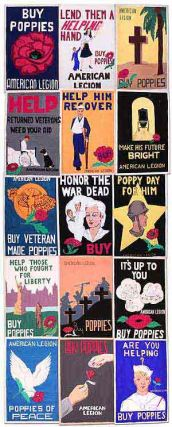 Collection of Vernacular Original Hand-Painted Posters for the American Legion Created by Girls