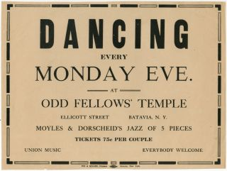Small Broadside]: Dancing Every Monday Eve at Odd Fellows' Temple ... Moyles & Dorscheid's Jazz...