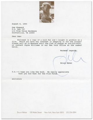 Typed Letter Signed to Sam Shepard. Bruce WEBER