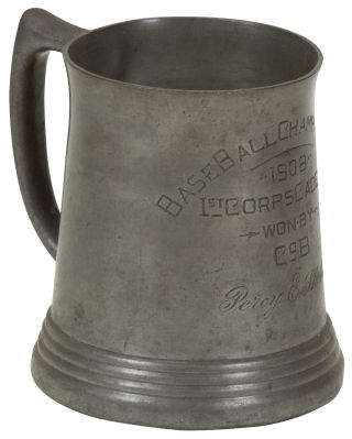 Pewter Trophy Mug]: Base Ball Championship 1908 1st Corps Cadets Won by Co. B. Percy E. Sheldon