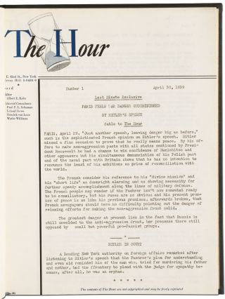 [Anti-Nazi Periodical]: The Hour. Issues 1-153 [complete]