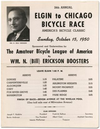 Broadsheet]: 24th Annual Elgin to Chicago Bicycle Race ... 1950