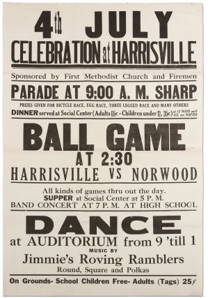 Broadside]: 4th July Celebration at Harrisville... Ball Game at 2:30 Harrisville vs. Norwood......