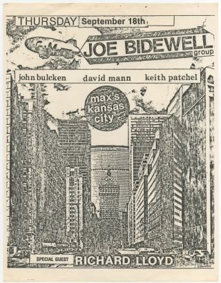Flyer]: Max's Kansas City: Joe Bidewell Group. Jim Bulcken. David Mann. Keith Patchel. Special...