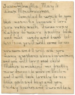 Four Page Autograph Letter Signed, written to Michael Anagnos when Keller was Seven Years Old