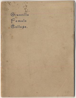 Annual Circular of Granville Female College 1896-1897