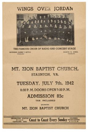 Flyer or small broadside]: Wings Over Jordan. The Famous Choir of Radio and Concert Stage. Mt....