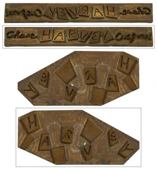 Brass binding die-stamp for the spine and front board of]: Harvey. Mary CHASE, R O. Blechman