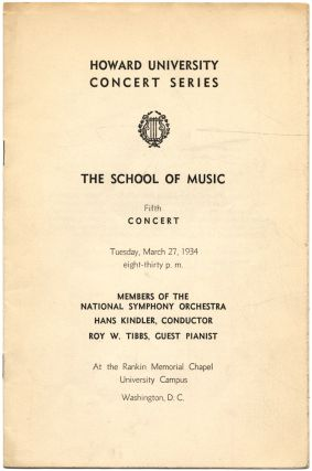 Program]: Howard University Concert Series. The School of Music. Fifth Concert