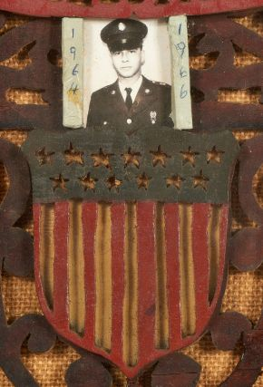 [Folk Art]: Wooden Scroll Work Patriotic Picture Frame with Photos of American Servicemen