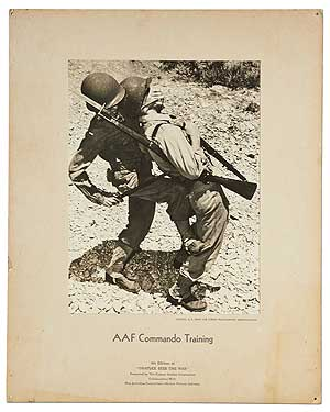 "[Advertising poster]: AAF Commando Training. 4th Edition of ""Graflex Sees The War"" Presented by The Folmer Graflex Corporation Collaboration with War Activities Committee - Motion Picture Industry"