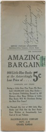 1925 Catalogue. Amazing Bargain. 900 Little Blue Books at the Astonishinly Low Price of 5¢