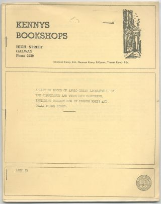 Kennys Bookshops. A List of Books of Anglo-Irish Literature, of the Nineteenth and Twentieth...