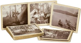 [Photographs]: Sixteen Images of a Fishing Camp. Circa 1905