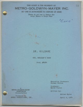 "Teleplay): Dr. Kildare. Mrs. Monahan's Room [Filmed as ""The Middle of Ernie Mann""]. Adrian SPIES"