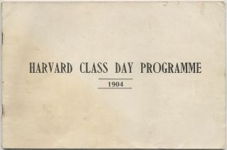 Harvard Class Day Programme and Baseball Score Card for the Harvard-Yale Game to be Played in the...