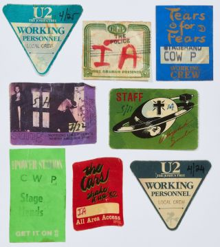 Back Stage Passes or Patches for Various New Wave Music Tours, 1980-1990. The Cure Billy Idol,...