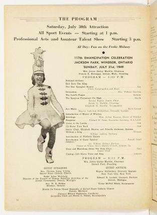 [Program]: Progress An Official Record of the Achievements of the Colored Race. Emancipation Day, Windsor, Ont., July 30-Aug. 1, 1949