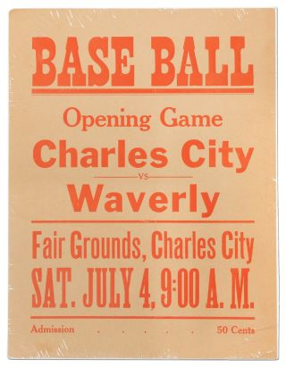 (Broadside): Base Ball. Opening Game Charles City vs. Waverly