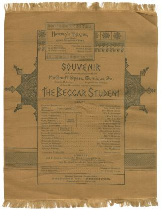 Broadside Program on Silk]: Souvenir of the successful production by the McCaull Opera Comique...