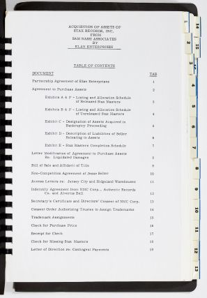 Contract, Partnership Agreement, and Related Correspondence for the Sale of Stax Records to Elan Enterprises