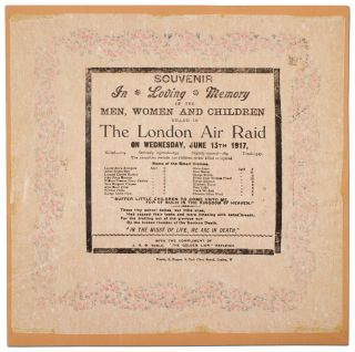 Broadside napkin]: Souvenir In Loving Memory of the Men, Women and Children Killed in The London...