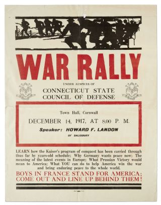 [Broadside]: War Rally Under Auspices of Connecticut State Council of Defense... Town Hall, Cornwall... Speaker: Howard F. Landon of Salisbury