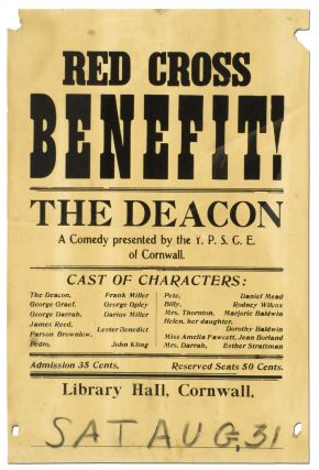 (Broadside): Red Cross Benefit! The Deacon. A Comedy presented by the Y.P.S.C.E. of Cornwall