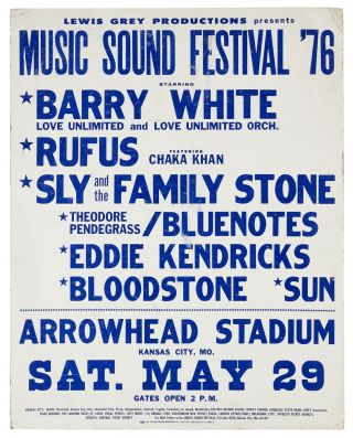 Poster): Lewis Grey Productions Presents Music Sound Festival '76 Starring Barry White, Love...