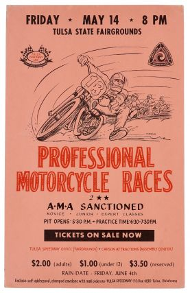 Poster): Tulsa State Fairgrounds. Professional Motorcycle Races. 2 A.M.A. Sanctioned. Novice -...