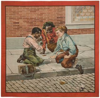 Broadside on cloth, supplied title]: Shoe Shine Boys Playing at Dice