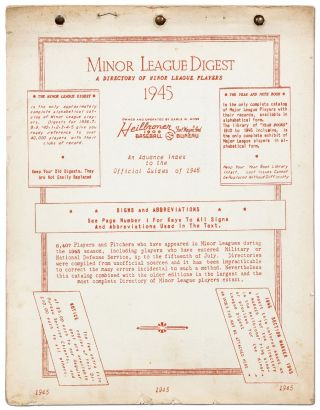 Minor League Digest: A Directory of Minor League Players 1945: An Advance Index to the Official...