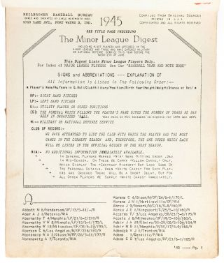 Minor League Digest: A Directory of Minor League Players 1945: An Advance Index to the Official Guides of 1946