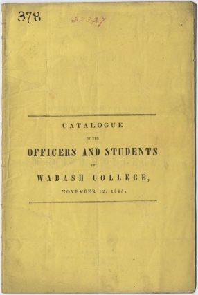 Catalogue of the Officers and Students of Wabash College, November 12, 1845