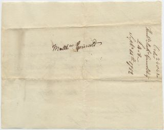 Holograph Pay Document to Revolutionary War Connecticut Governor Matthew Griswold, 1782