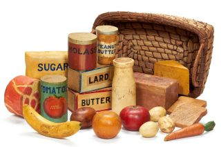 Primitive Carvings of Wooden Fruit, Vegetables, and Groceries made by the Delta Art Center,...