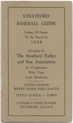 Cover title): Stratford Baseball Guide. Listing all Games to be Played in 1958... Little League...