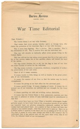 Broadsheet]: War Time Editorial