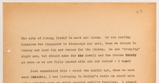 (Archive): Typed Journal Entries from a Chief Radio Officer Onboard the SS Jean Lafitte during the start of World War II