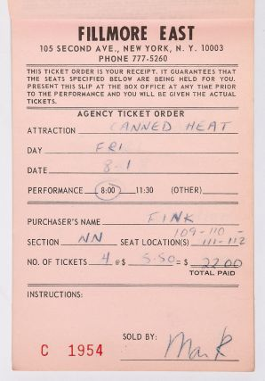 (Archive): New York City's Fillmore East Ticket Pad from 1969 Featuring Music Performances