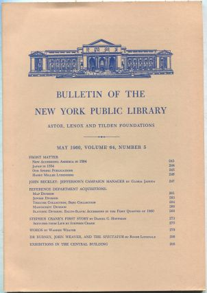 Bulletin of The New York Public Library: May 1960, Volume 64, Number 5