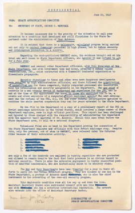 [Archive]: An Archive of Letters, Documents, and Statements Pertaining to Senator Joe McCarthy During the Height of McCarthyism