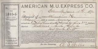 American M. U. Express Co. Receipt Book for 1872-3