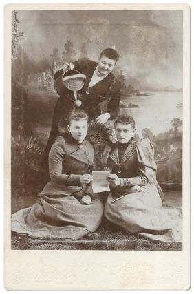 Cabinet card]: A Curious Tableau of Three Women
