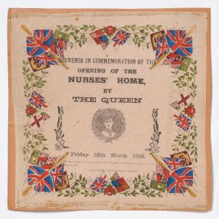 Broadside napkin]: Souvenir In Commemoration of the Opening of the Nurses' Home, by The Queen....